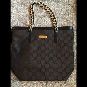 Authentic Gucci GC monogram tote bag like new